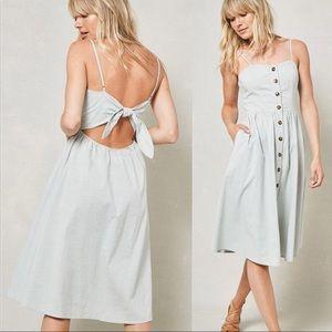 Midi Dress Pockets Linen Tie Back Button Down Sage